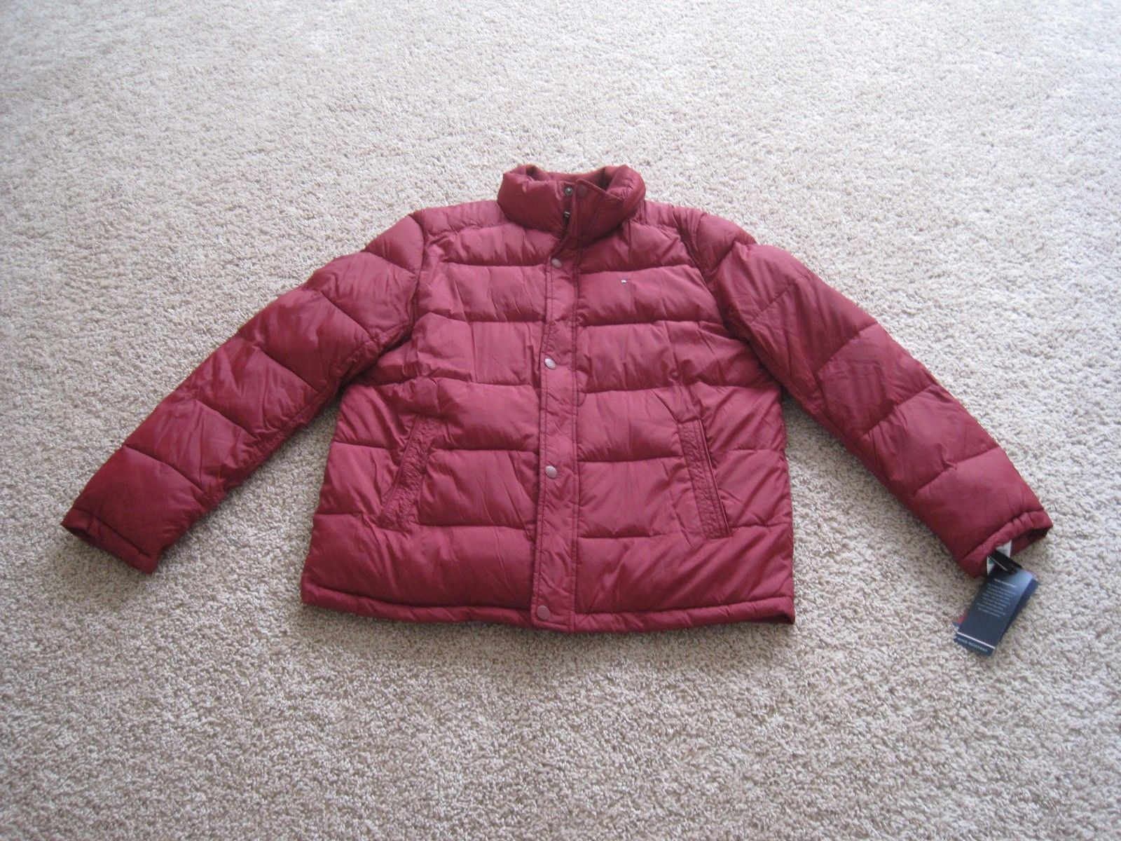 BNWT Tommy Hilfiger Mens Puffer Jacket, L, Red, Wind resistant, Super warm, $195