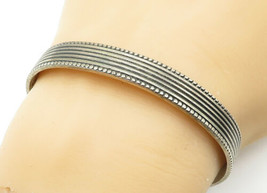 MEXICO 925 Sterling Silver - Vintage Fluted Trim Ribbed Cuff Bracelet - ... - $67.56