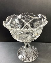 American Brilliant Period Cut Glass compote, Antique W10.5 - $88.48