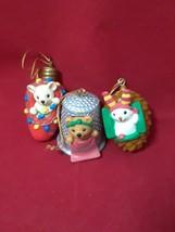 Avon Christmas Cutie Ornaments~THIMBLE TEDDY~LIGHT BULB MOUSE~PINE CONE ... - $17.41