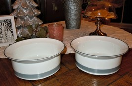"2pc DANSK CONCERTO ALLEGRO GRAY BAND BAKING DISH SERVING BOWL SET 8"" - $39.59"