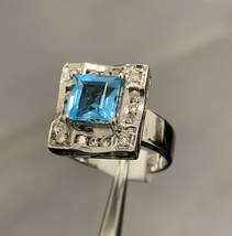 18k Topaz Ring White Gold And Diamonds BHS Size K1/2 - $1,654.13