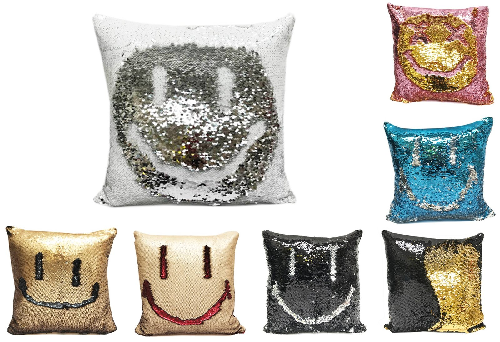 "Fennco Styles Glam Mermaid Sequin Throw Pillow - 16""x16"" (Cover + Insert, Matt G"