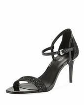 Michael Kors Simone Mid Sandal Black Glitter Fabric Size 6.5 M - $49.49