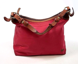 DOONEY & BOURKE ERICA Red Hobo Satchel Purse Nylon Brown Leather Shoulde... - $834,83 MXN