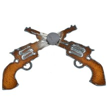 "Country Western Rusted Patina Iron Metal Cutout Revolver Pistol 5.25"" Magnet image 2"
