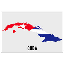 Cuba Flag With Country Shape Wall Art Poster - $18.32+