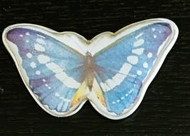 Marjolein Bastin Butterfly Pin Brooch Hallmark Bug Blue Purple White Signed - $12.59