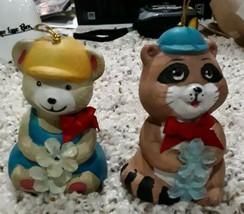 VTG Bear w/ baseball cap & racoon Christmas Ornament Ceramic Bells by Gi... - $14.54