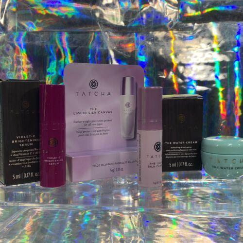 NEW IN BOX Tatcha Liquid Silk Canvas 5mL Violet C Serum 5mL Water Cream 5mL