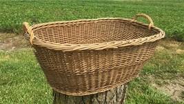 Oval Wicker Basket, Vintage German Woven Rattan Basket, Storage Organize... - $149.00