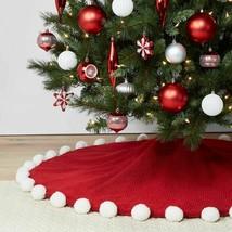 Wondershop Red Acrylic, Polyester Pom Pom Christmas Tree Skirt 48″x48″