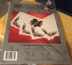 Something Special Ornaments And Ribbons Placemats 1993 Set Cross Stitch - $14.95