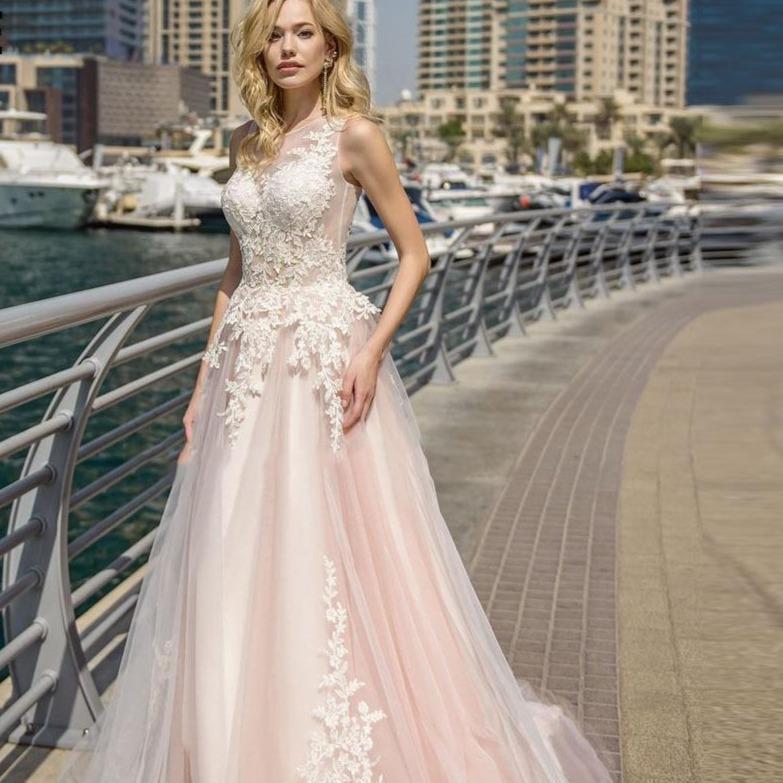 Lorie elegant lace wedding dresses a line light pink beach bridal gown o neck sleeveless boho