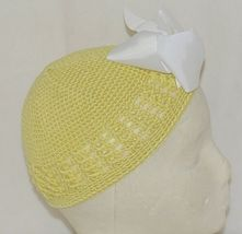 Unbranded Infant Toddler Hat Stretch Removable Bow Yellow White image 3