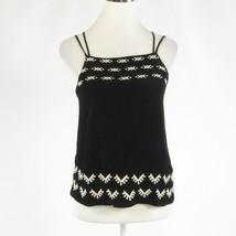 Black geometric ANN TAYLOR LOFT spaghetti strap cami blouse PXS - $19.99