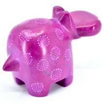 "Hand Carved Kisii Soapstone ""Happiness"" Fuchsia Hippopotamus Hippo Figure image 4"