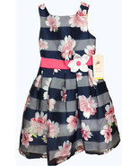 Jona Michelle Girls' Special Occasion Dress Navy Shadow Stripe  - $26.99