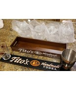 Tito's Handmade Vodka Condiment Caddy Gift Set, Bar Mat, Shaker Tin & Gl... - $85.00