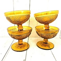 Tiara Indiana Glass 4 Amber Sandwich Footed Ice Cream Dessert Cups Sherbets - $24.74