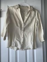 Talbots Women's Shirt 100% Linen 3/4 Sleeve Button Up Cream Size Medium - $39.57