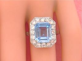 VINTAGE 5ct AQUAMARINE 1+ctw DIAMOND HALO COCKTAIL RING or MOUNTING 1950... - $2,543.31