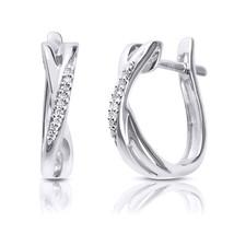 Womens Gorgeous Genuine Diamond Crossover Hoop Earrings 1/20 Cttw 10k White Gold - $194.54