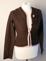 Field Flower Anthropologie S Boiled Wool Pearl Button Brown Cardigan Swe... - $19.95
