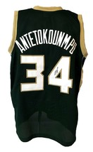 Giannis Antetokounmpo Autographed Pro Style Green Jersey JSA Authenticated - £135.39 GBP