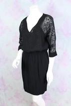 71 Stanton Medium M Asos Black Sheer Sleeve V-Neck Sheath Dress Career Work - $29.69