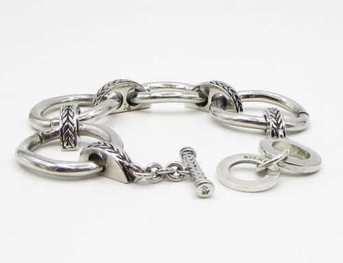 925 Sterling Silver - Large O-Ring Braid Detail Chain Bracelet - B1357