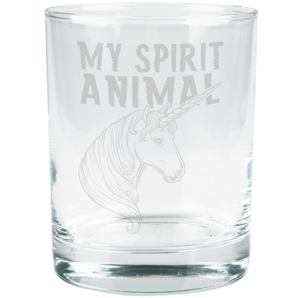 Unicorn Is My Spirit Animal Etched Glass Tumbler