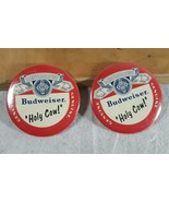 """Lot of 2 Vtg Budweiser Holy Cow Cubs 3"""" Pinback Button 80s 90s Wrigley F... - $17.32"""