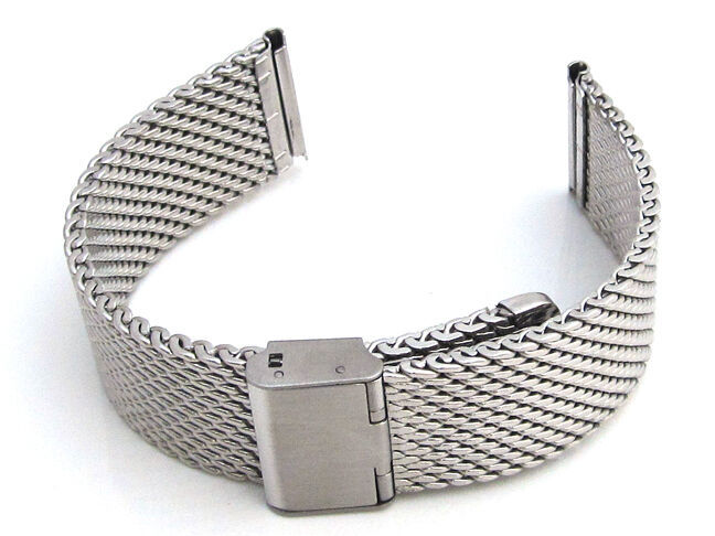 Primary image for Watch Strap Shark Mesh Chainmail STAINLESS STEEL Mens Ladies Band Bracelet S63