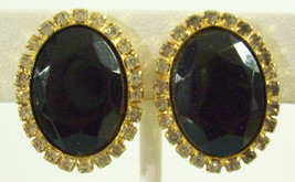 Vintage Hobe Jet Black Onyx Oval Rhinestone Frame Clip Earrings Classic ... - $16.34