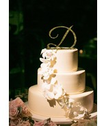Buythrow® Monogram Initial Letter Personalized Glitter Gold Wedding Cake... - $24.01