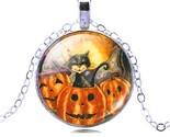 jewelry halloween pumpkin necklace pendants cat picture glass bronze collares for thumb155 crop