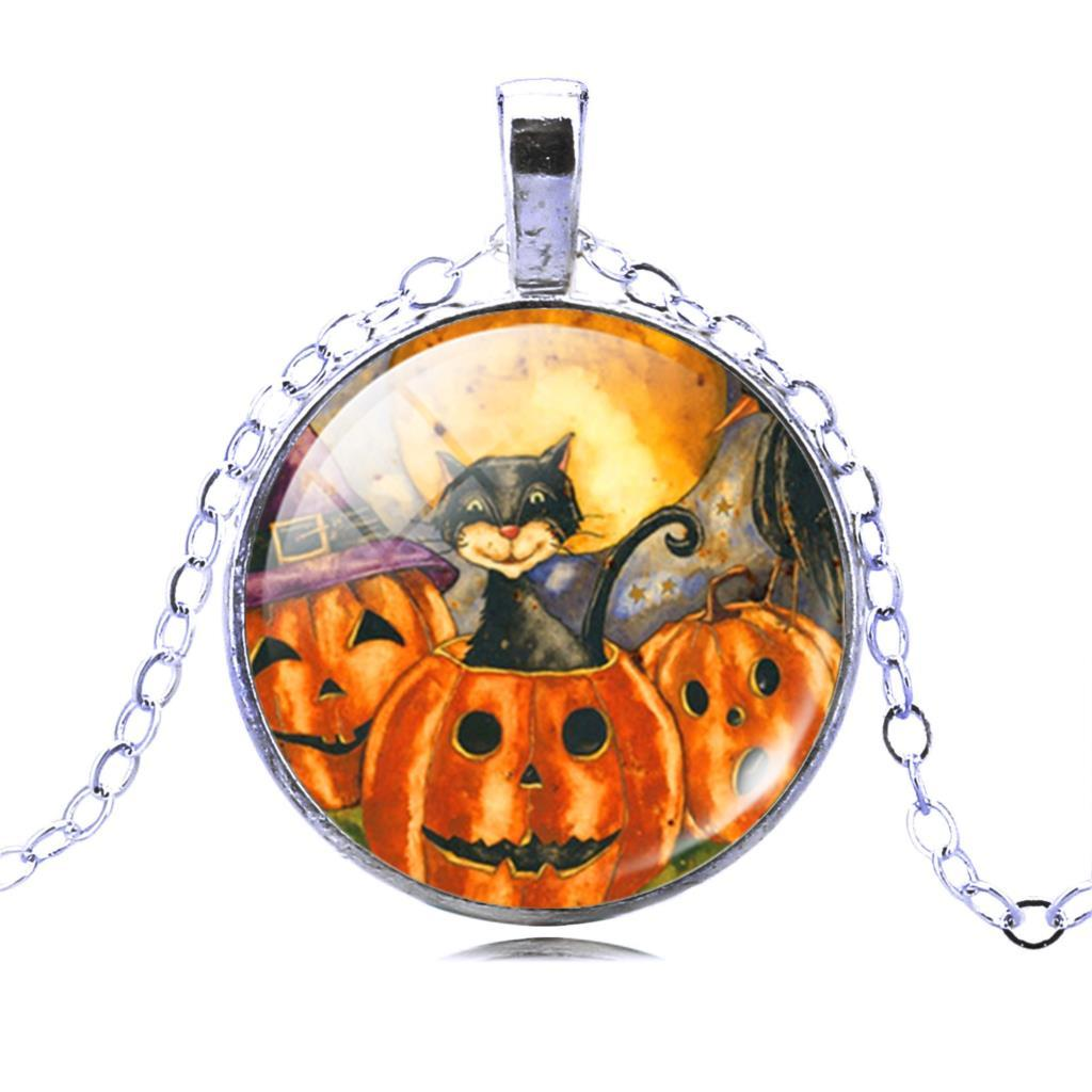 E silver color jewelry halloween pumpkin necklace pendants cat picture glass bronze collares for