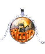 LIEBE ENGEL Vintage Silver Color Jewelry Halloween Pumpkin Necklace&Pend... - $5.28
