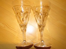 """Lot Of 2 Crystal Water Glasses Cut Arches Stems 7"""" x 3 5/8"""" - $29.44"""