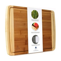 Indigo True Extra Large Bamboo Cutting Board with Deep Juice Groove 17.5... - $42.33 CAD
