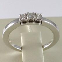 White Gold Ring 750 18K, Trilogy 3 Diamonds Carat Total 0.18, Shank Square image 2