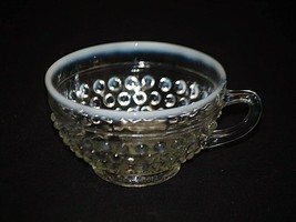 """Vintage Moonstone Clear Opalescent by Anchor Hocking 2-1/4"""" Footed Cup H... - $14.84"""