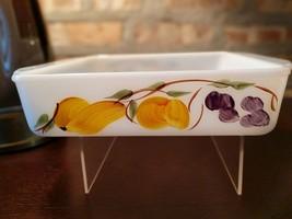 Fire king 8 inch Square Casserole Dish Gay Fad  Fruit Pattern #453 - $12.00
