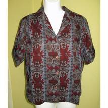 Vintage 1950s Graff Cotton Button Front Blouse Women's Shirt Rockabilly - $29.91