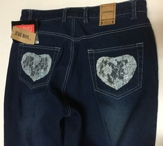 Juke Box Dark Indigo Denim Jeans Sz 11 Blue Lace Hearts NWT image 4