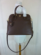 NWT Tory Burch Dark Walnut Brown Pebbled Leather Robinson Open Dome Satc... - $483.12