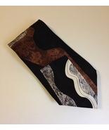 Chez Roffe Black Brown White Neck Tie 100% Silk Mens Abstract Modern New... - $24.00