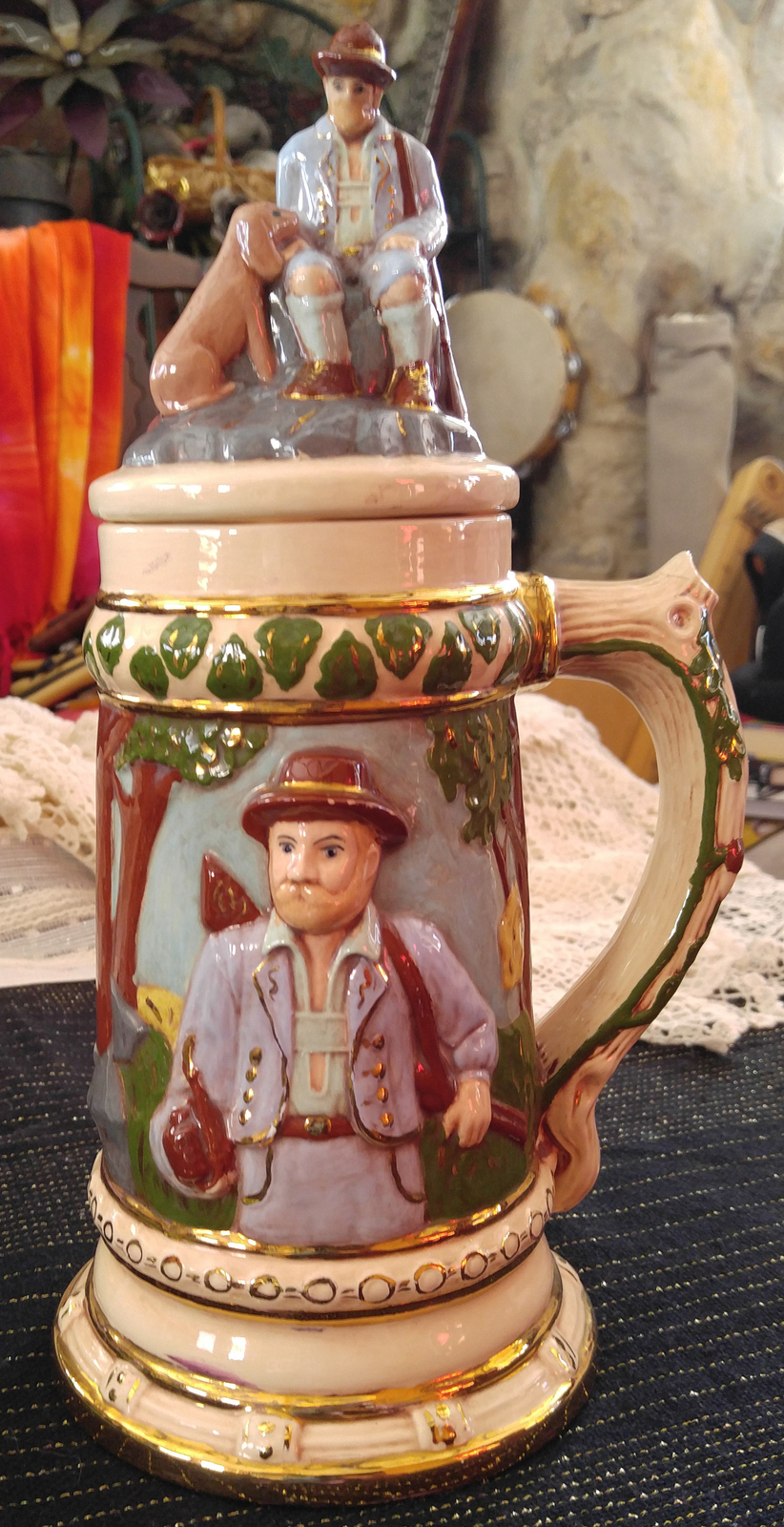 "Vintage Hand Decorated 13"" Tall Beer Stein with Lid - Hunter & His Dog"