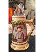 "Vintage Hand Decorated 13"" Tall Beer Stein with Lid - Hunter & His Dog - $75.00"